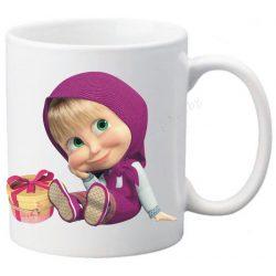 Бяла керамична фото чаша - Маша и мечока-3