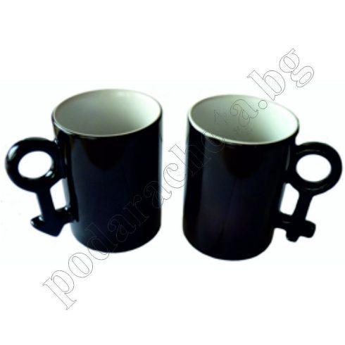 Черни магически керамични чаши за влюбени