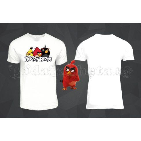 Бяла мъжка тениска - Angry Birds 4