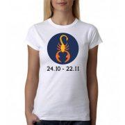 Бяла дамска тениска - Зодия Скорпион