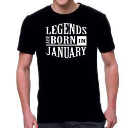 Черна мъжка тениска - Legends are born in January