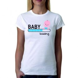 Бяла дамска тениска - Baby loading - за момче