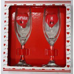 Комплект стъклени чаши със столче Обичам те