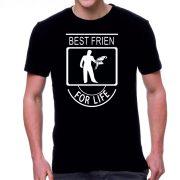 Черна мъжка тениска - Best friends for life - Папагал