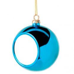 Коледна украса - топка - синя, с ваша снимка