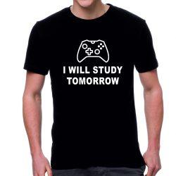 Черна мъжка тениска - I will study tomorrow