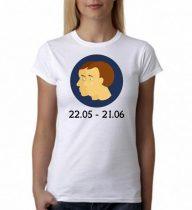 Бяла дамска тениска - Зодия Близнаци