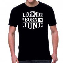 Черна мъжка тениска - Legends are born in June