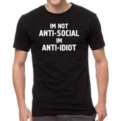 Черна мъжка тениска - Im not anti-social