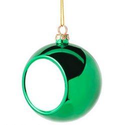 Коледна украса - топка - зелена, с ваша снимка
