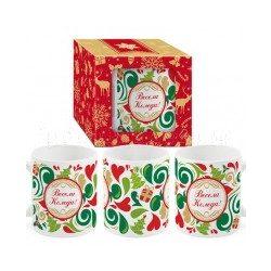 """Коледна чаша с коледен декор в кутия """"Весела Коледа"""""""
