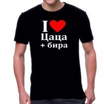 Черна мъжка тениска FOTL i love цаца + бира