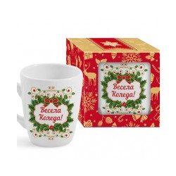 """Коледна чаша с венец в кутия """"Весела Коледа"""""""