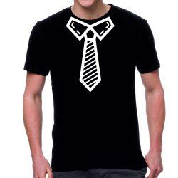 Черна мъжка тениска - Вратовръзка