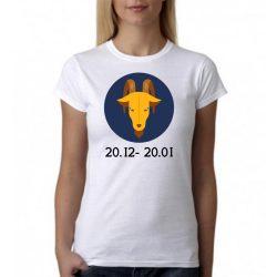 Бяла дамска тениска - Зодия Козирог