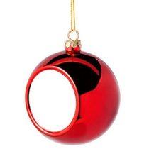 Коледна украса - топка - червена, с ваша снимка