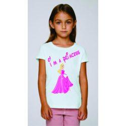 Бяла детска тениска - Аз съм принцеса