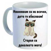 Керамична бяла чаша - Grumpy Cat 55