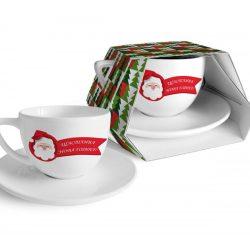 """Коледна чаша с чиния """"Дядо Коледа"""" - 400мл"""