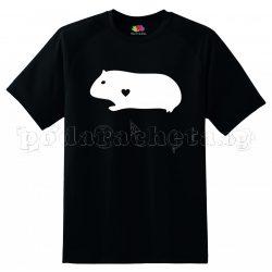Черна мъжка тениска - Best Friends Forever - Морско свинче