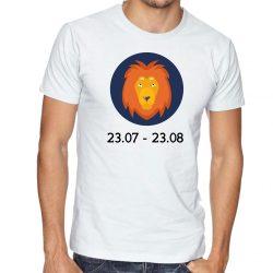 Бяла мъжка тениска - Зодия Лъв
