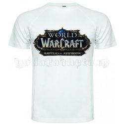 Бяла мъжка тениска - Геймърска WoW Battle For Azeroth