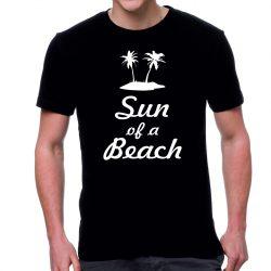 Черна мъжка тениска FOTL sun of a beach