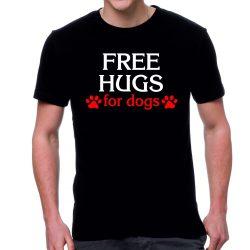 Черна мъжка тениска - Free hugs for dogs