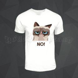 Бяла мъжка тениска - Grumpy Cat 1