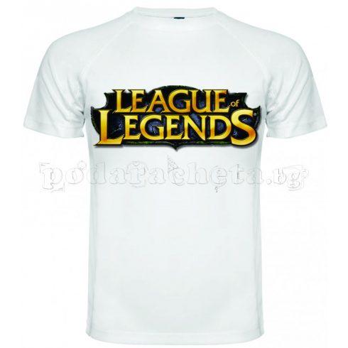 Бяла мъжка тениска - Геймърска League Of Legends