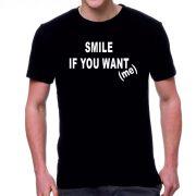 Черна мъжка тениска - Усмихни се...