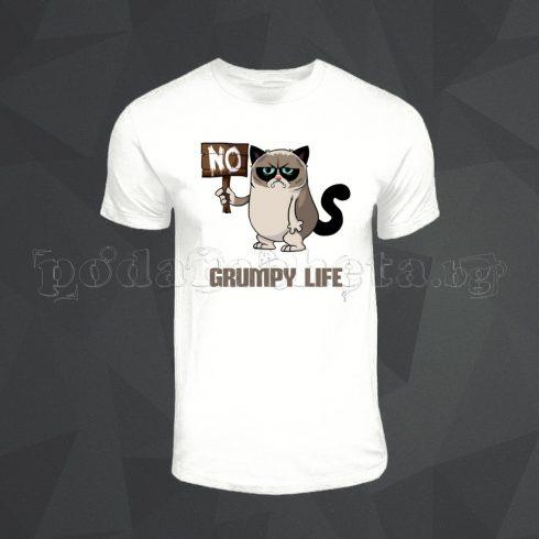 Бяла мъжка тениска - Grumpy Cat 5
