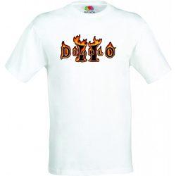 Бяла мъжка тениска - Геймърска Diablo 2