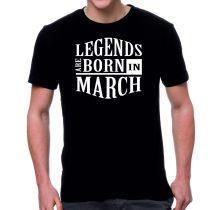 Черна мъжка тениска - Legends are born in March