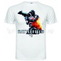 Бяла мъжка тениска - Геймърска Battlefield 4