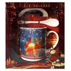 Коледна чаша с чинийка и лъжичка - 3