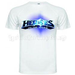 Бяла мъжка тениска - Геймърска Heroes Of The Storm