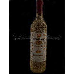 """Ръчно изработена сватбена бутилка вино """"Злато"""""""