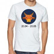 Бяла мъжка тениска - Зодия Телец