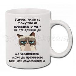 Бяла керамична чаша - Grumpy Cat 1
