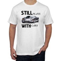 Бяла мъжка тениска - Still plays with cars