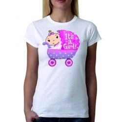 Бяла дамска тениска - It's a girl