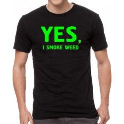 Черна мъжка тениска - Yes, i smoke weed