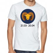 Бяла мъжка тениска - Зодия Овен