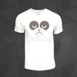 Бяла мъжка тениска - Grumpy Cat 2