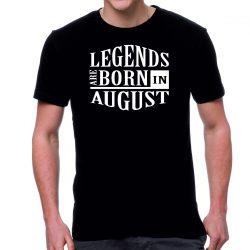 Черна мъжка тениска - Legends are born in August