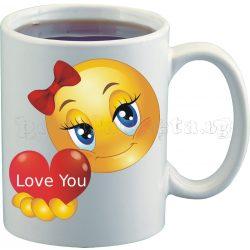 Бяла чаша за влюбени с емотикони 6