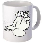 Бяла керамична фото чаша - Стикер котка 1