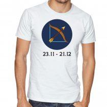 Бяла мъжка тениска - Зодия Стрелец