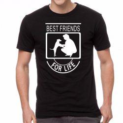 Черна мъжка тениска - Best Friends For Life - Куче 2